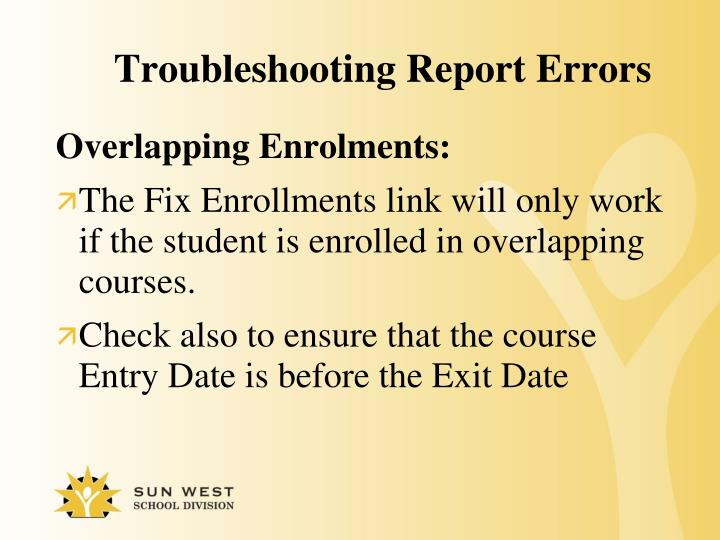 Troubleshooting Report Errors