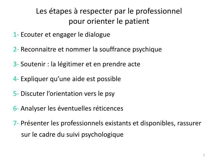 Les étapes à respecter par le professionnel