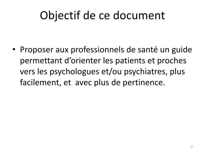 Objectif de ce document