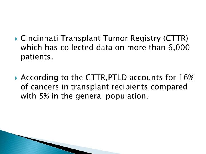 Cincinnati Transplant Tumor Registry (CTTR) which has collected data on more than 6,000 patients.