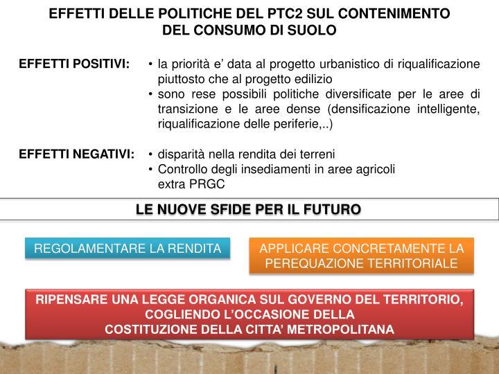 EFFETTI DELLE POLITICHE DEL PTC2 SUL CONTENIMENTO