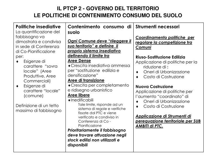 IL PTCP 2 - GOVERNO DEL TERRITORIO