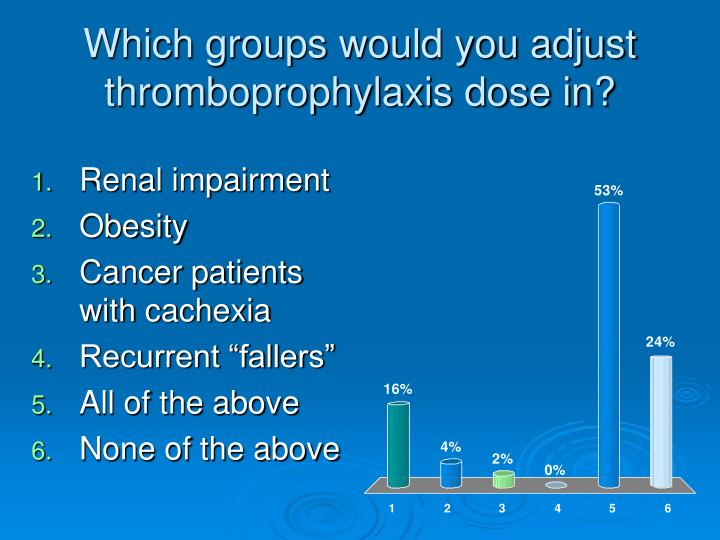 Which groups would you adjust thromboprophylaxis dose in?