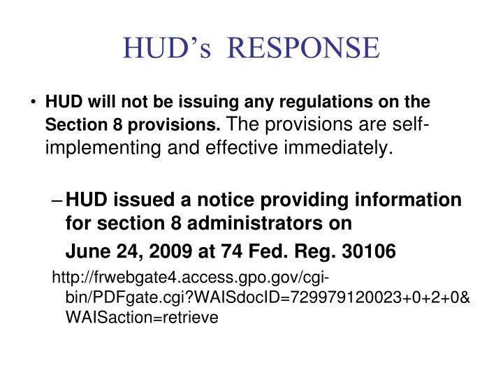 HUD's  RESPONSE