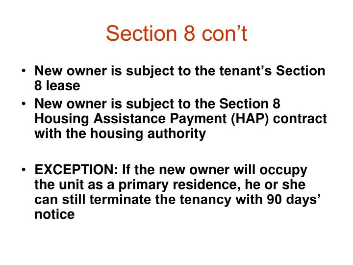 Section 8 con't