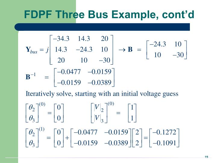FDPF Three Bus Example, cont'd