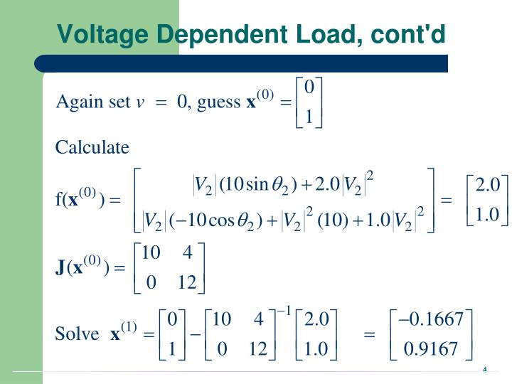 Voltage Dependent Load, cont'd