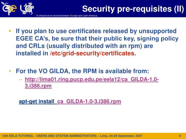 Security pre-requisites (II)