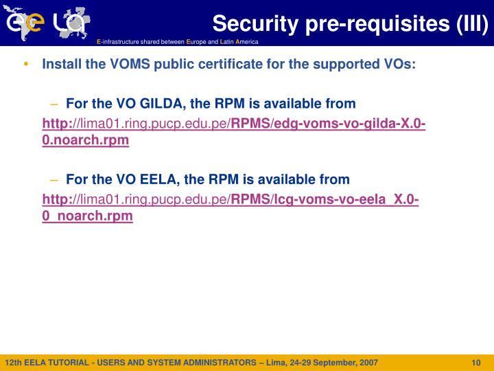 Security pre-requisites (III)