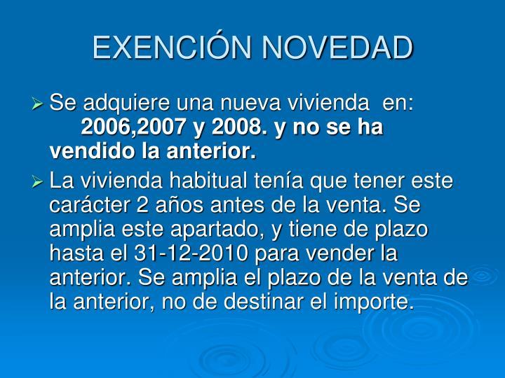 EXENCIÓN NOVEDAD