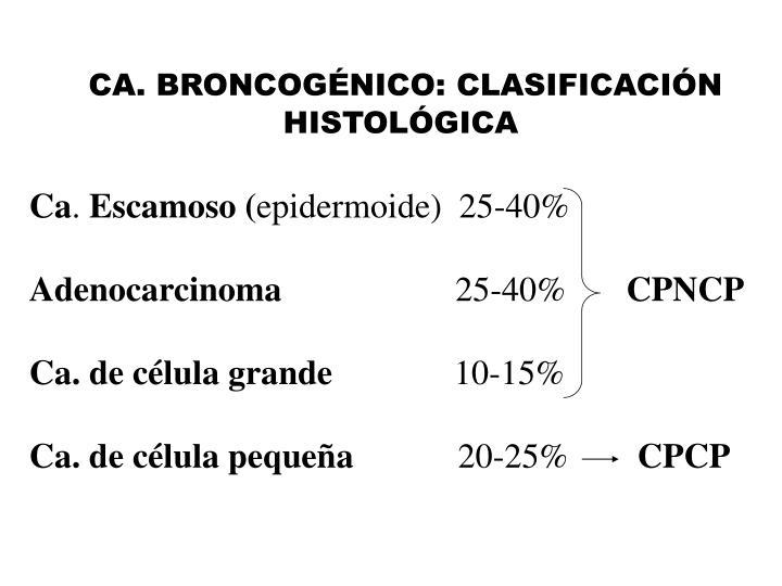 CA. BRONCOGÉNICO: CLASIFICACIÓN