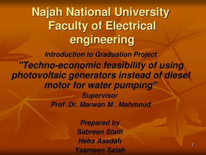 Najah national university faculty of electrical engineering