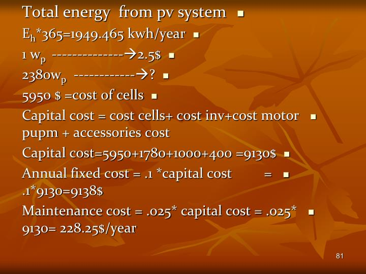 Total energy  from pv system