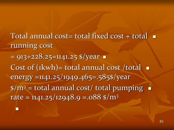 Total annual cost= total fixed cost + total running cost