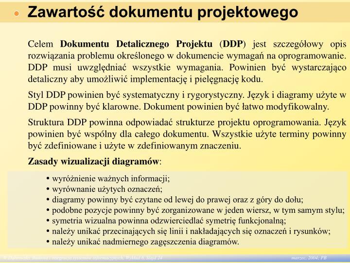 Zawartość dokumentu projektowego