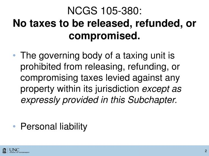 Ncgs 105 380 no taxes to be released refunded or compromised