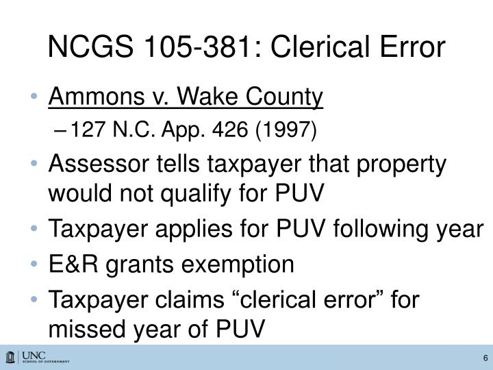 NCGS 105-381: Clerical Error