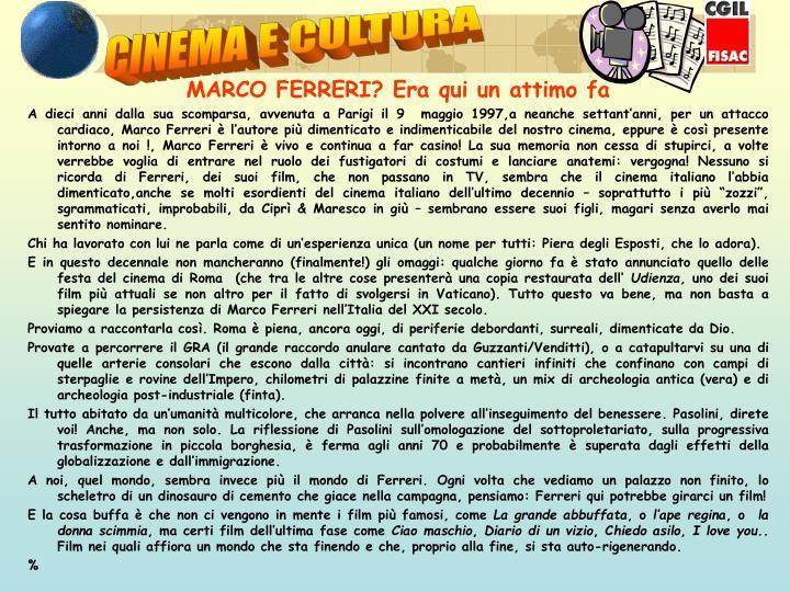CINEMA E CULTURA