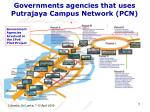 governments agencies that uses putrajaya campus network pcn