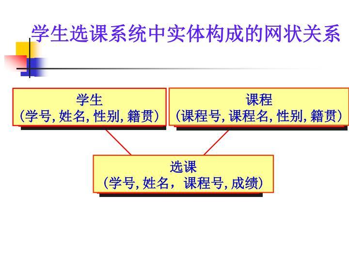 学生选课系统中实体构成的网状关系