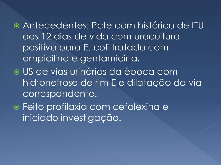 Antecedentes: Pcte com histórico de ITU aos 12 dias de vida com urocultura positiva para E. coli tratado com ampicilina e gentamicina.
