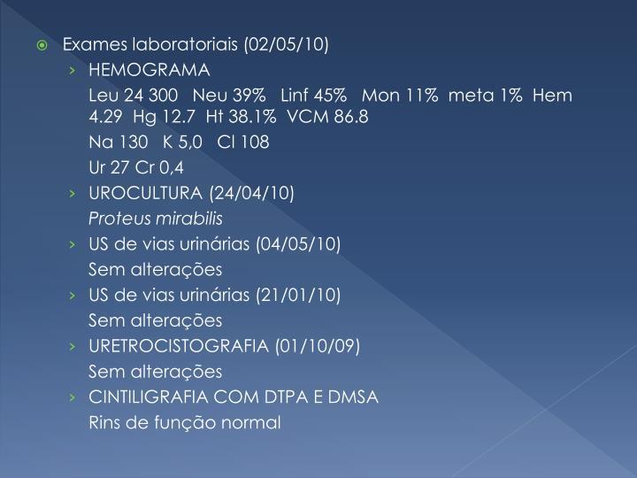 Exames laboratoriais (02/05/10)