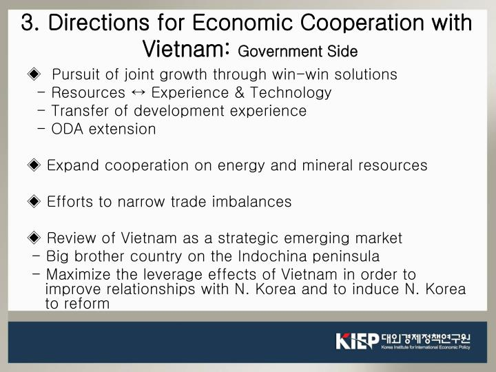 3. Directions for Economic Cooperation with