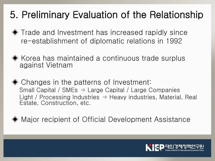 5. Preliminary Evaluation of the Relationship
