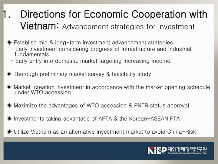 Directions for Economic Cooperation with Vietnam: