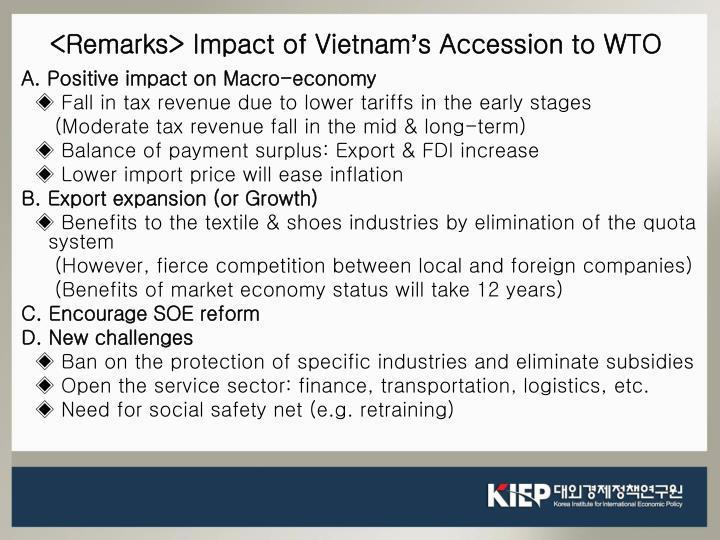 <Remarks> Impact of Vietnam