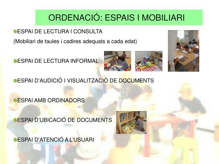 ORDENACIÓ: ESPAIS I MOBILIARI