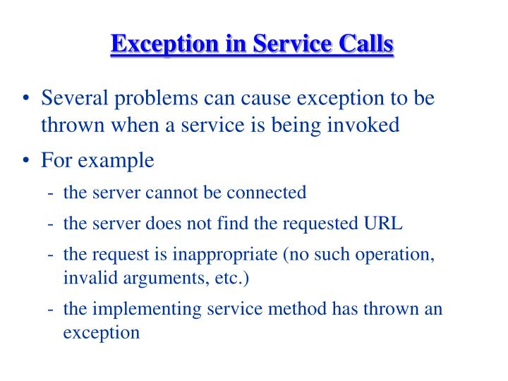 Exception in Service Calls