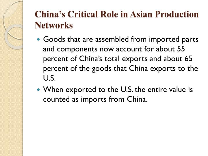 China's Critical Role in Asian Production Networks