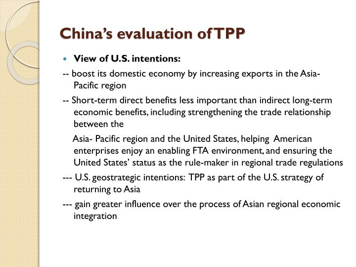 China's evaluation of TPP