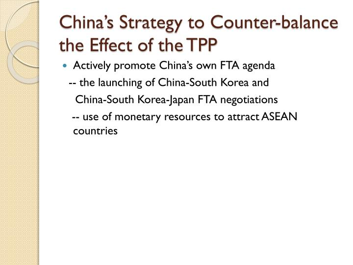 China's Strategy to Counter-balance the Effect of the TPP