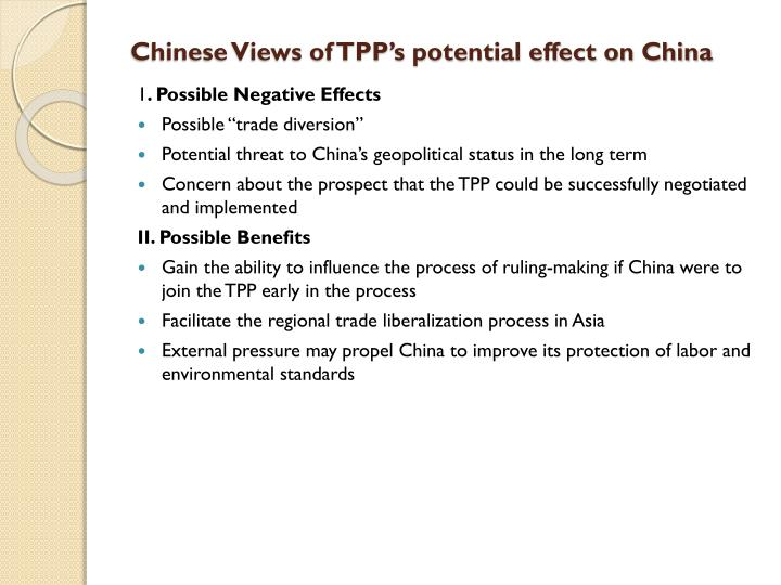 Chinese Views of TPP's potential effect on China
