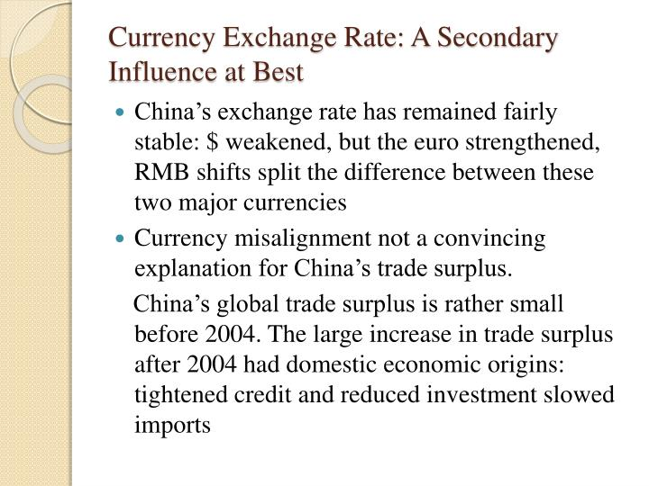 Currency Exchange Rate: A Secondary Influence at Best