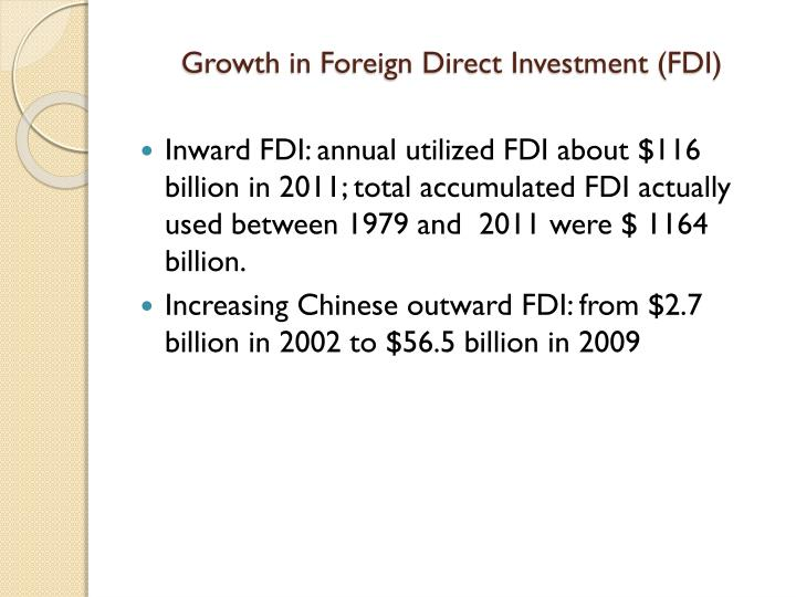 Growth in Foreign Direct Investment (FDI)
