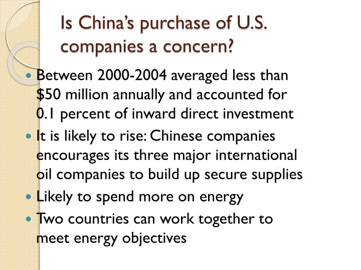 Is China's purchase of U.S. companies a concern?