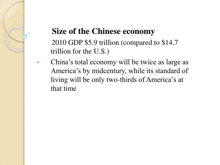 Size of the Chinese economy