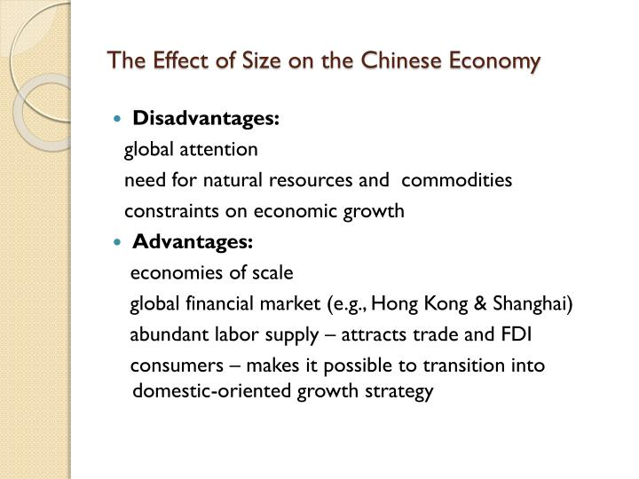 The Effect of Size on the Chinese Economy