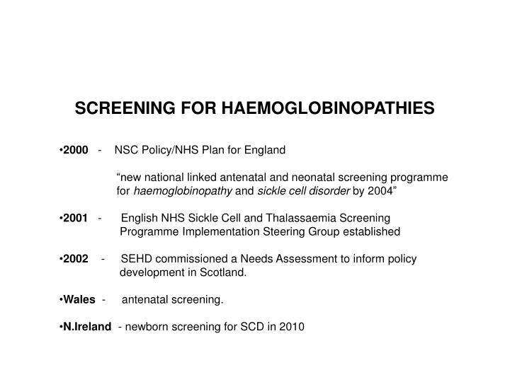 screening for haemoglobinopathies