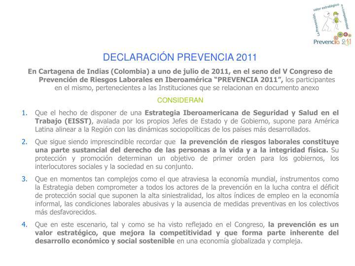 DECLARACIÓN PREVENCIA 2011
