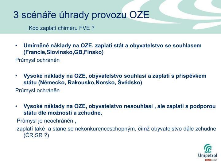 3 scénáře úhrady provozu OZE
