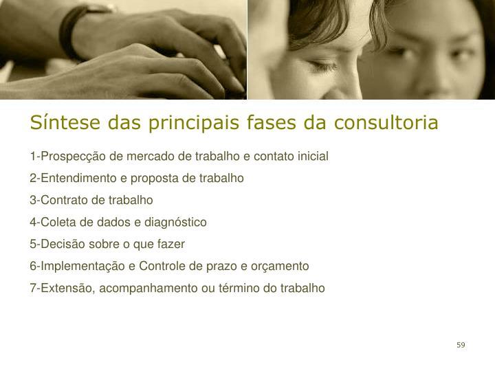 Síntese das principais fases da consultoria