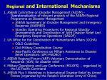 regional and international mechanisms