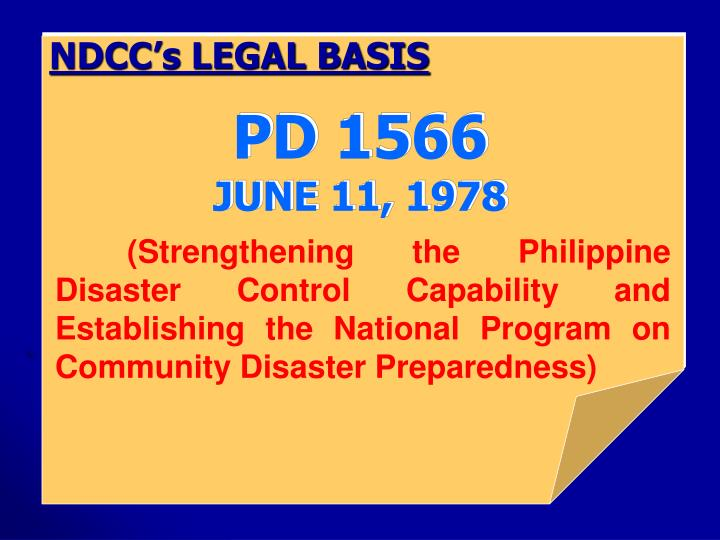 NDCC's LEGAL BASIS