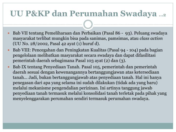 UU P&KP dan Perumahan Swadaya