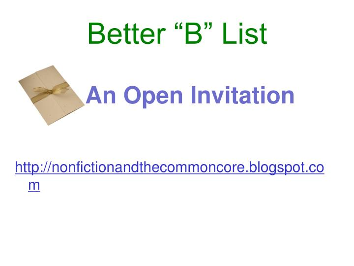 """Better """"B"""" List"""