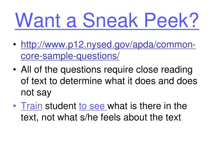 Want a Sneak Peek?